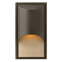 Hinkley 1830BZ-GU24 Cascade 1 Light 15 inch Bronze Outdoor Wall in Amber Etched Organic Rain, GU24, Alabaster Glass