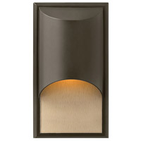 Hinkley 1830BZ-LED Cascade LED 15 inch Bronze Outdoor Wall Mount in Amber Etched Organic Rain