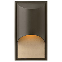 Hinkley 1830BZ Cascade 1 Light 15 inch Bronze Outdoor Wall Mount in Amber Etched Organic Rain, Incandescent