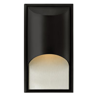Hinkley 1830SK-GU24 Cascade 1 Light 15 inch Satin Black Outdoor Wall in Clear Etched Organic Rain, GU24, Alabaster Glass