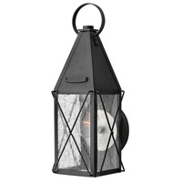 Hinkley 1840BK York 1 Light 15 inch Black Outdoor Wall Lantern, Clear Seedy Glass
