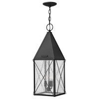 York 3 Light 10 inch Black Outdoor Hanging Lantern, Clear Seedy Glass