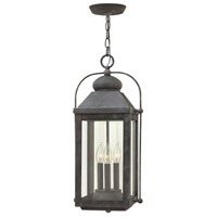 Anchorage 3 Light 11 inch Aged Zinc Outdoor Hanging Lantern in Candelabra, Clear Glass