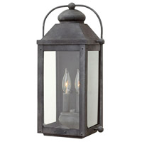 Hinkley 1854DZ Anchorage 2 Light 18 inch Aged Zinc Outdoor Wall Mount in Candelabra, Clear Glass
