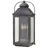 Hinkley 1855DZ Anchorage 3 Light 21 inch Aged Zinc Outdoor Wall Mount in Candelabra, Clear Glass