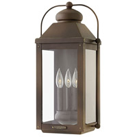 Hinkley 1855LZ Anchorage 3 Light 21 inch Light Oiled Bronze Outdoor Wall Mount in Candelabra