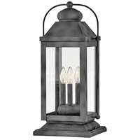 Hinkley 1857DZ Anchorage 3 Light 24 inch Aged Zinc Outdoor Pier Mount, Heritage