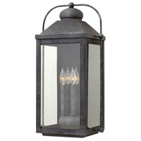 Hinkley 1858DZ Anchorage 4 Light 25 inch Aged Zinc Outdoor Wall Mount in Candelabra, Clear Glass