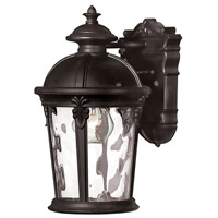 Hinkley 1890BK Windsor 1 Light 13 inch Black Outdoor Wall Mount in Incandescent, Clear Water Glass