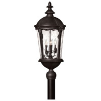 Hinkley 1891BK Windsor 4 Light 30 inch Black Post Lantern in Clear Water, Incandescent, Post Sold Separately, Clear Water Glass