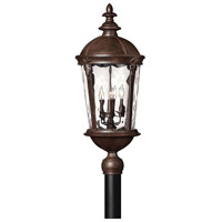 Hinkley 1891RK Windsor 4 Light 30 inch River Rock Post Lantern in Clear Optic Water, Incandescent, Post Sold Separately
