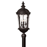 Hinkley Lighting Windsor 1 Light Post Lantern in Black with Clear Water Glass 1891BK-LED