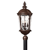 Hinkley Lighting Windsor 1 Light Post Lantern in River Rock with Clear Water Glass 1891RK-LED