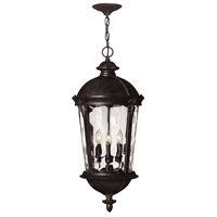 Hinkley 1892BK Windsor 4 Light 13 inch Black Outdoor Hanging in Clear Water, Incandescent, Clear Water Glass