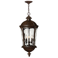Hinkley 1892RK Windsor 4 Light 13 inch River Rock Outdoor Hanging Lantern in Clear Optic Water, Incandescent