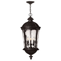 Hinkley Lighting Windsor 1 Light Outdoor Hanging Lantern in Black with Clear Water Glass 1892BK-LED