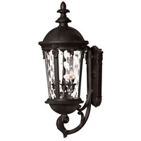 Windsor 3 Light 26 inch Black Outdoor Wall Mount in Incandescent, Clear Water Glass