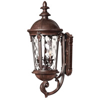 Hinkley 1894RK Windsor 3 Light 26 inch River Rock Outdoor Wall Lantern in Clear Optic Water, Incandescent