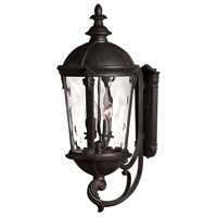 Windsor 4 Light 32 inch Black Outdoor Wall Mount in Incandescent, Clear Water Glass