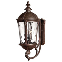 Hinkley 1895RK Windsor 4 Light 32 inch River Rock Outdoor Wall Lantern in Clear Optic Water, Incandescent