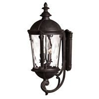 Hinkley Lighting Windsor 1 Light Outdoor Wall Lantern in Black with Clear Water Glass 1895BK-LED