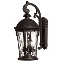 Windsor 3 Light 21 inch Black Outdoor Wall Mount in Incandescent, Clear Water Glass
