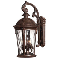 Hinkley 1898RK Windsor 3 Light 21 inch River Rock Outdoor Wall Lantern in Clear Optic Water, Incandescent
