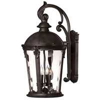 Hinkley 1899BK Windsor 4 Light 26 inch Black Outdoor Wall Mount in Incandescent, Clear Water Glass