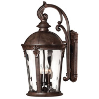 Hinkley 1899RK Windsor 4 Light 26 inch River Rock Outdoor Wall Lantern in Clear Optic Water, Incandescent