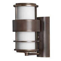 Hinkley 1900MT-GU24 Saturn 1 Light 12 inch Metro Bronze Outdoor Wall in Etched Opal, GU24, Etched Opal Glass