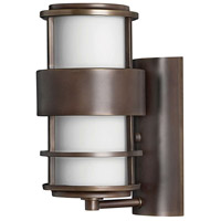 Saturn LED 12 inch Metro Bronze Outdoor Wall Mount in Etched Opal, Etched Opal Glass