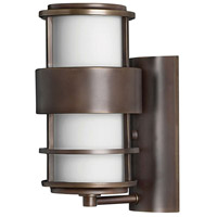 Hinkley 1900MT Saturn 1 Light 12 inch Metro Bronze Outdoor Wall Lantern in Etched Opal, Incandescent