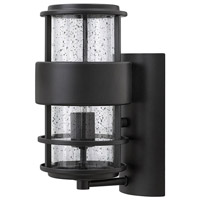 Hinkley 1900SK Saturn 1 Light 12 inch Satin Black Outdoor Wall Mount in Incandescent Clear Seedy Glass