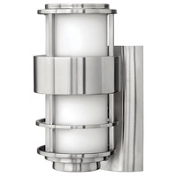 Hinkley 1900SS Saturn 1 Light 12 inch Stainless Steel Outdoor Wall Lantern in Etched Opal, Incandescent