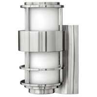 Saturn 1 Light 12 inch Stainless Steel Outdoor Wall Lantern in Etched Opal, LED, Etched Opal Glass