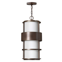 Hinkley 1902MT-GU24 Saturn 1 Light 10 inch Metro Bronze Outdoor Hanging in Etched Opal, GU24, Etched Opal Glass
