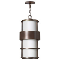 Saturn LED 10 inch Metro Bronze Outdoor Hanging Light in Etched Opal, Etched Opal Glass