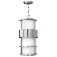 Saturn LED 10 inch Stainless Steel Outdoor Hanging Light, Etched Opal Glass