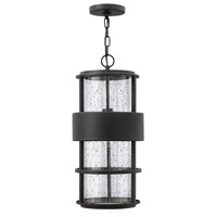 Saturn 1 Light 10 inch Satin Black Outdoor Hanging Lantern in Clear Seedy, Incandescent, Clear Seedy Glass