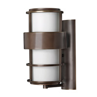 Hinkley 1904MT-GU24 Saturn 1 Light 16 inch Metro Bronze Outdoor Wall in Etched Opal, GU24, Etched Opal Glass
