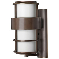 Hinkley 1904MT Saturn 1 Light 16 inch Metro Bronze Outdoor Wall Lantern in Etched Opal, Incandescent