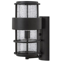 Hinkley 1904SK Saturn 1 Light 16 inch Satin Black Outdoor Wall Mount in Incandescent, Clear Seedy Glass