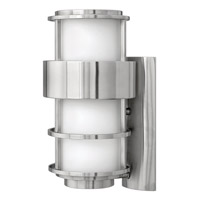 Hinkley 1904SS-GU24 Saturn 1 Light 16 inch Stainless Steel Outdoor Wall in Etched Opal, GU24, Etched Opal Glass