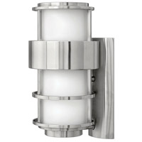 Saturn LED 16 inch Stainless Steel Outdoor Wall Mount in Etched Opal, Etched Opal Glass
