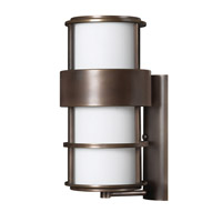 Hinkley 1905MT-GU24 Saturn 1 Light 20 inch Metro Bronze Outdoor Wall in Etched Opal, GU24, Etched Opal Glass