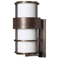 Hinkley 1905MT Saturn 1 Light 20 inch Metro Bronze Outdoor Wall Mount in Etched Opal, Incandescent