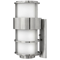 Saturn LED 20 inch Stainless Steel Outdoor Wall Mount in Etched Opal, Etched Opal Glass