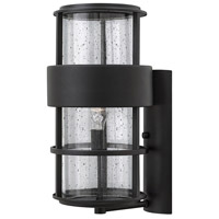 Hinkley Lighting Saturn 1 Light Outdoor Wall Lantern in Satin Black with Clear Seedy Glass 1905SK