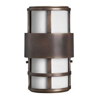 Hinkley 1908MT-GU24 Saturn 1 Light 13 inch Metro Bronze Outdoor Wall in Etched Opal, GU24, Etched Opal Glass