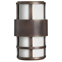 Hinkley 1908MT Saturn 2 Light 13 inch Metro Bronze Outdoor Mini Wall Mount in Etched Opal, Incandescent